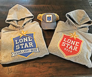 Lone Star Beer Hoodie- Heather Grey and Red