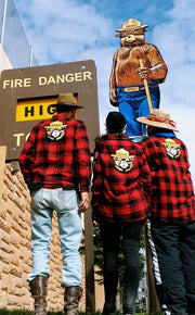 Smokey Bear Patch Flannel- Buffalo Plaid Red Angry Minnow Vintage