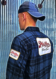 Pfeiffer Beer Vintage Patch Flannel- Charcoal/ Black Angry Minnow Vintage