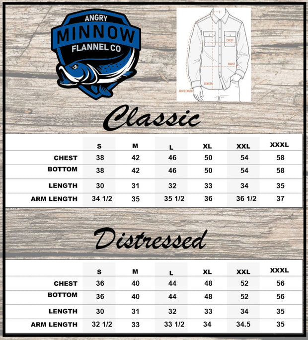 Angry Minnow Vintage sizing chart classic