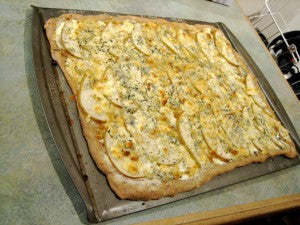 Blue Cheese, Pear and Caramelized Onion Whole Wheat Pizza