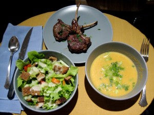 Avgolemono Soup (Lemon + Egg Goodness), with Heirloom Tomato Salad and Lamb Rib Chops