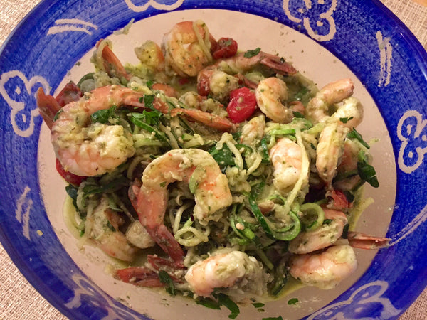 Fresh Zucchini Pasta with Frozen Pesto (and Shrimps!)