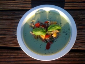 Crab and Mango Salsa SHIPWRECK in Chilled Avocado Soup: NO SURVIVORS