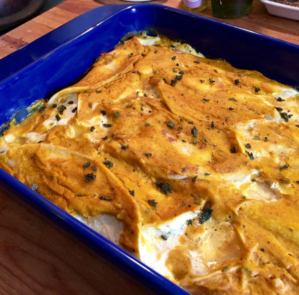 Fresh Manicotti with Pumpkin Goat Cheese Sauce