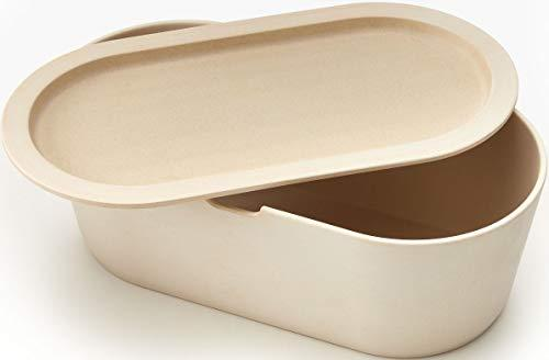 Modern Cream Eco Bamboo Bread Box with Cutting Board Lid - Farmhouse Breadbox Bread Holder By Cooler Kitchen - Cooler Kitchen