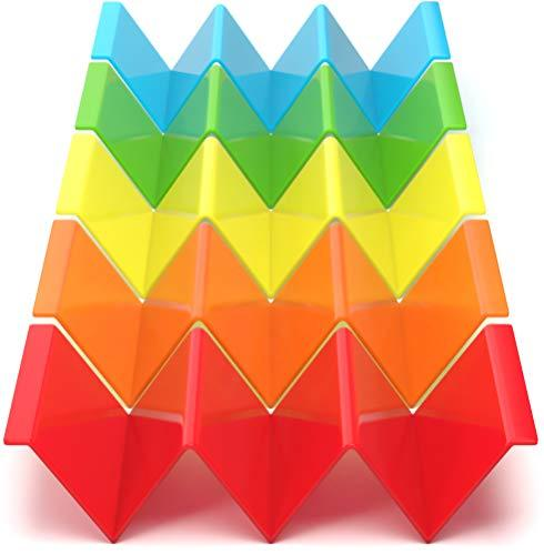 Rainbow Plastic Taco Holder Stand Set - Multicolor Rainbow Set Of 5 Plastic Taco Holders - Taco Serving Platter - Cooler Kitchen