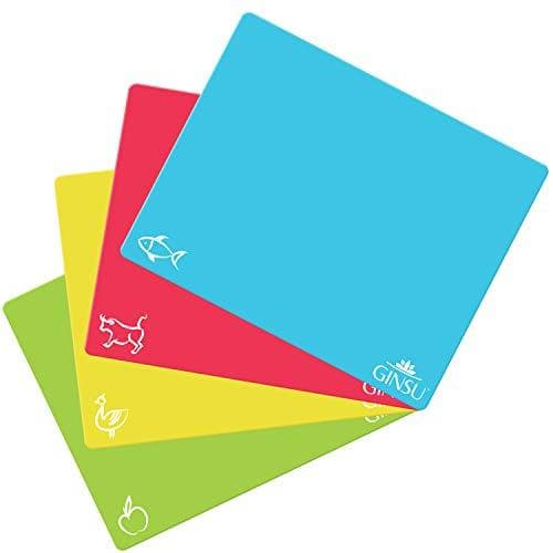 Ginsu Extra Thick 1.2mm Flexible Plastic Cutting Boards: Dishwasher Safe BPA Free Colorful Cutting Mats with Slip Resistant Waffle Back (Set of 4) - Cooler Kitchen