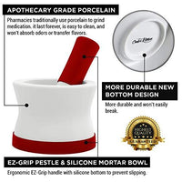 EZ-GRIP Silicone & Porcelain Mortar and Pestle (Dishwasher Safe!) - Cooler Kitchen