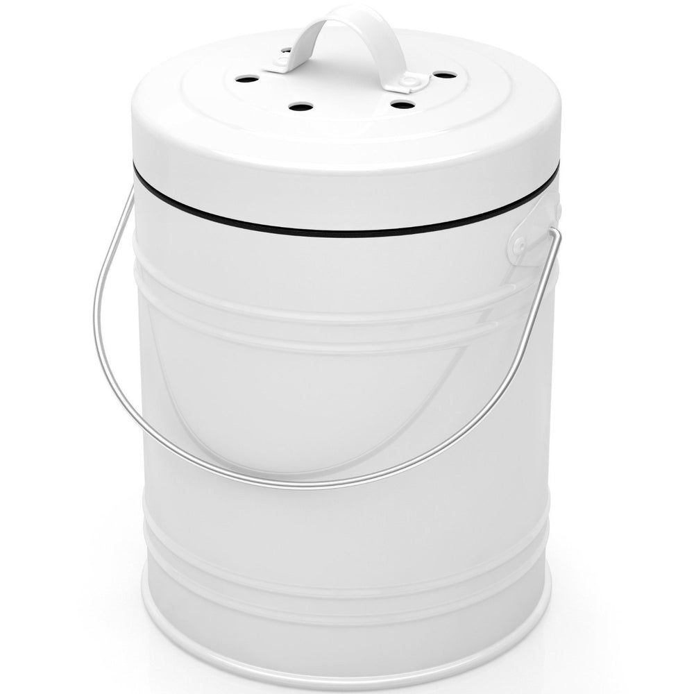 Oversized 1.3 Gallon Kitchen Compost Bin with Charcoal Filters (White Black) - Cooler Kitchen
