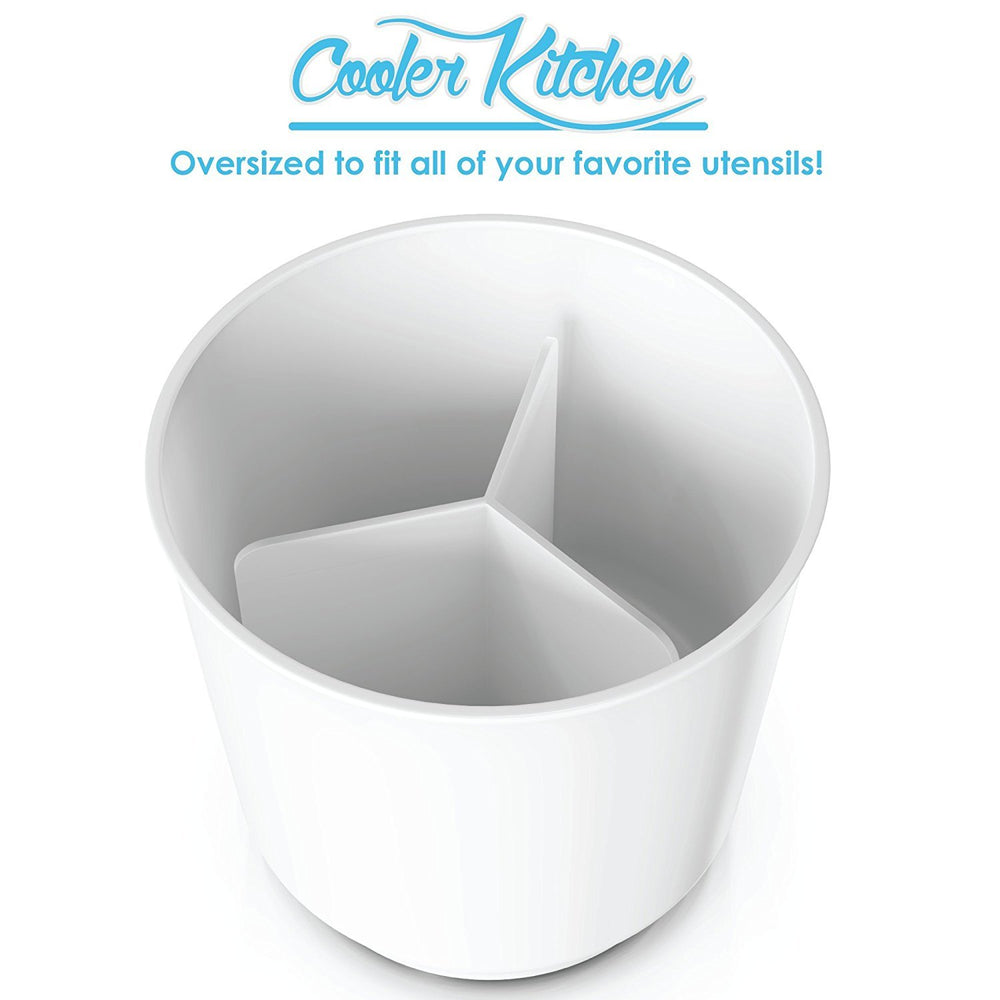 Extra Large and Sturdy Rotating Utensil Holder with No-Tip Weighted Base - Cooler Kitchen
