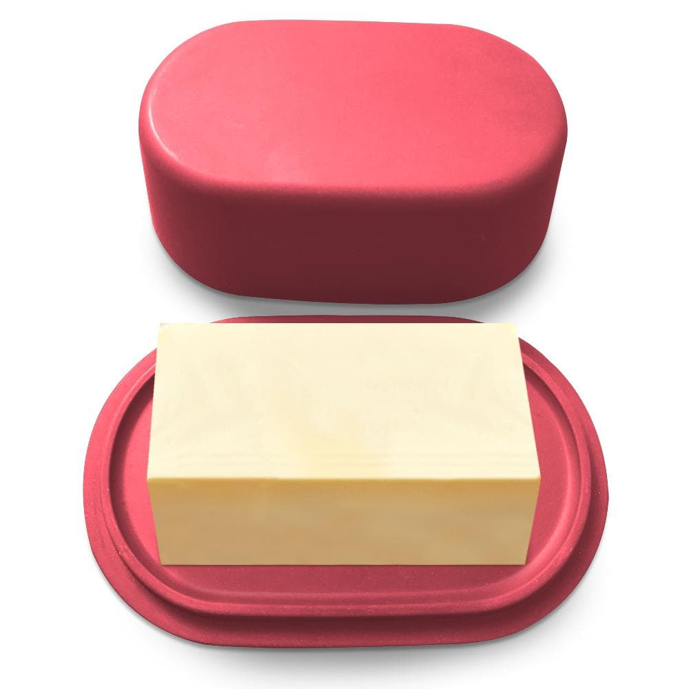 Modern Bamboo Butter Dish with Lid - Dishwasher Safe - Perfectly Sized For Large European Style Butters - Cooler Kitchen