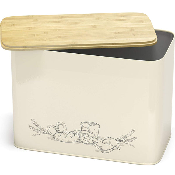 Space Saving Large Vertical Bread Box With Eco Bamboo Cutting Board Lid - Cooler Kitchen