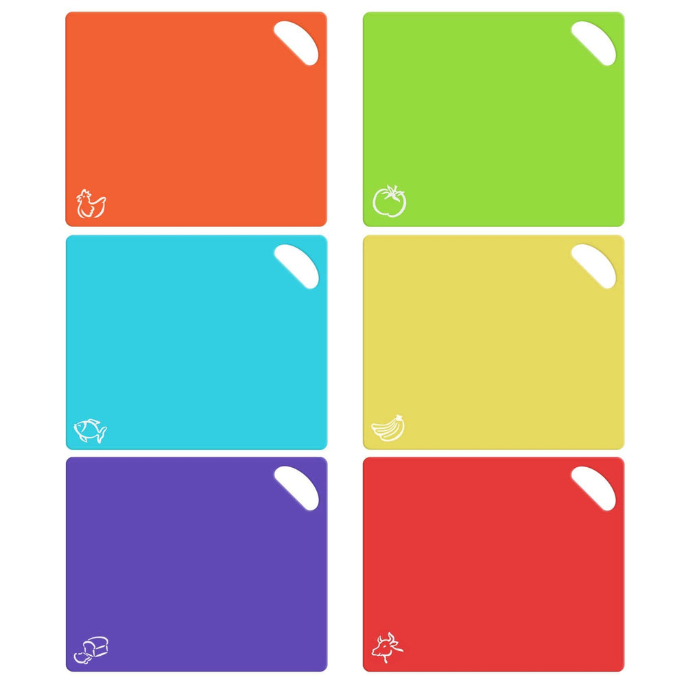 Extra Thick Flexible Plastic Cutting Board Mats with Holes for Hanging and Food Icons & EZ-Grip Waffle Back, (Set of 6) Dishwasher Safe - Cooler Kitchen