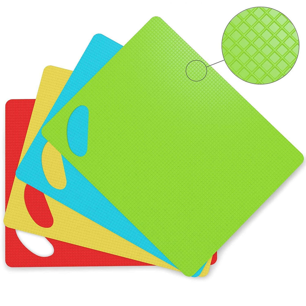 Cooler Kitchen Extra Thick Flexible Plastic Cutting Board Mats with Holes for Hanging and Food Icons & EZ-Grip Waffle Back, (Set of 4) Dishwasher Safe - Cooler Kitchen