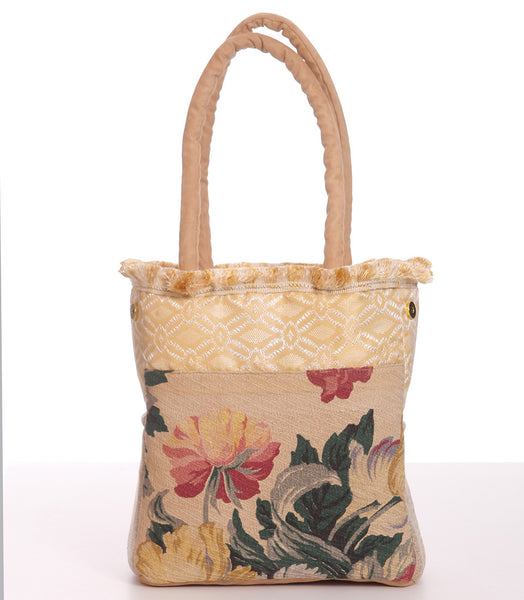 Gilded Blossoms With Peach Gingham 7123 Handbag at www.robinlennon.com