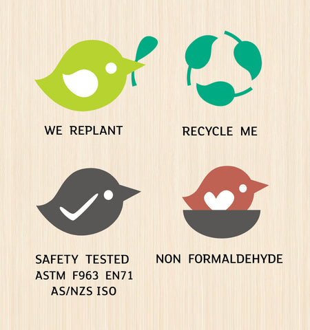 We Replant, Recycle Me, Safety Tested ASTM F963 EN71 AS/NZS ISO, Non Formaldehyde