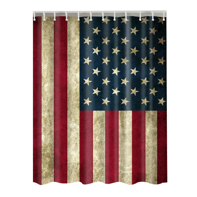 American Flag Shower Curtain with 12 Hooks, 71x71 Inches, Polyester ...