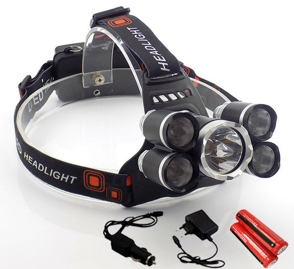 3700 Lumens LED Headlamp Featuring 5 X Cree Lamps 90 Degree Tilt