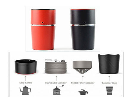 Portable Travel Filter Coffee Maker Amp Grinder 350ml Cup