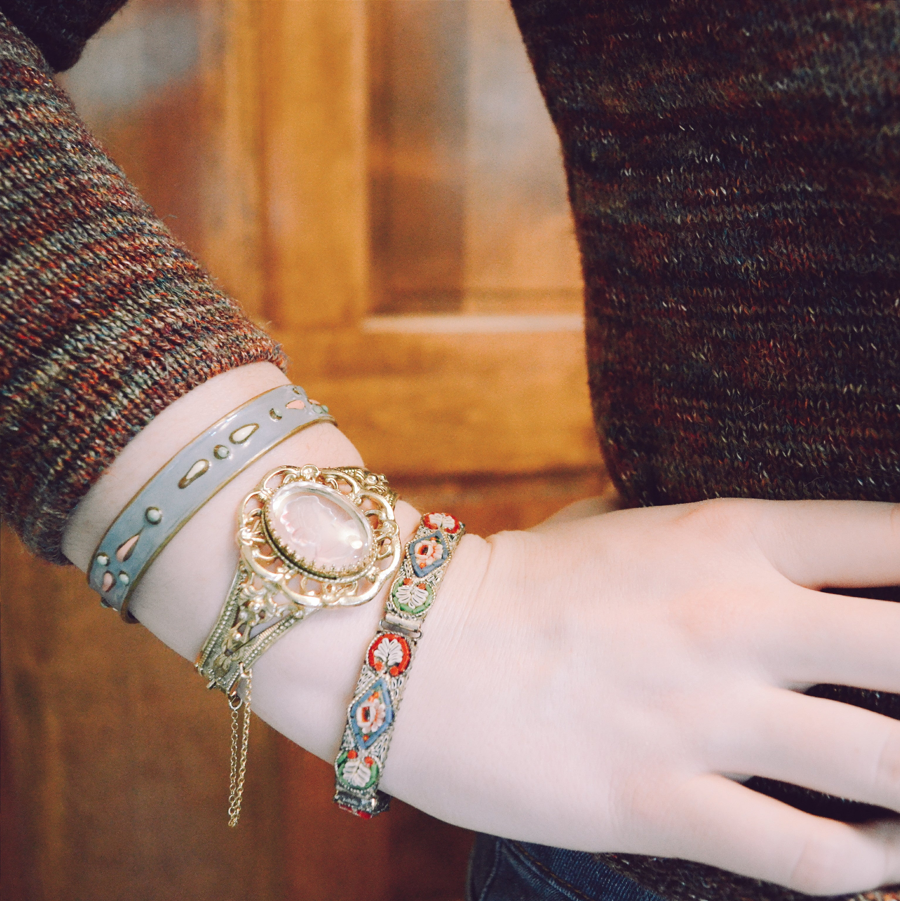how to style bracelets, mixing vintage with modern, vintage bracelets, stacking bracelets