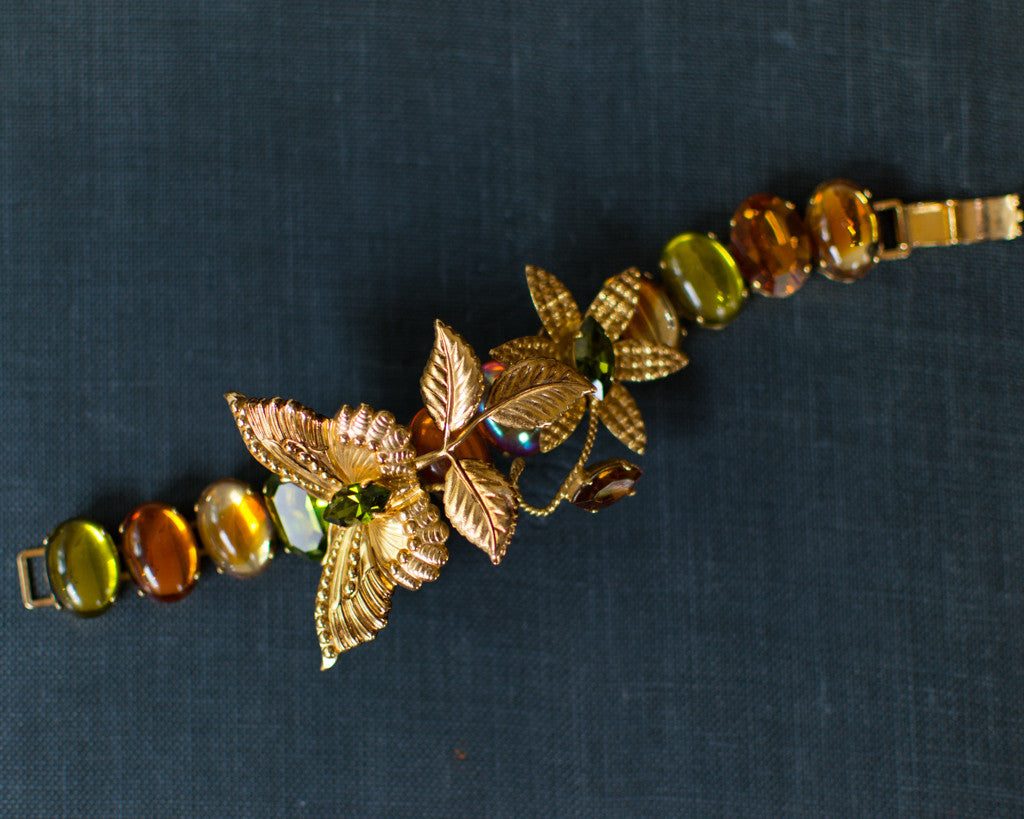 ZOE COSTE BUTTERFLY BRACELET WITH GREEN AND YELLOW CITRINE RHINESTONES