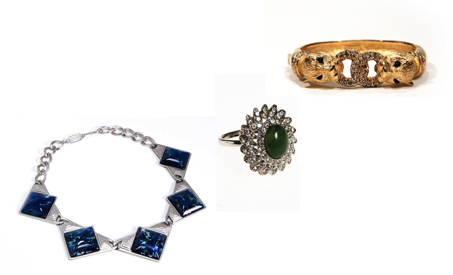 YSL DICHROIC BLUE GLASS NECKLACE, HUGE CZ AND JADE COCKTAIL STATEMENT RING, CUBIC ZIRCONIA, CINER DOUBLE PANTHER BRACELET