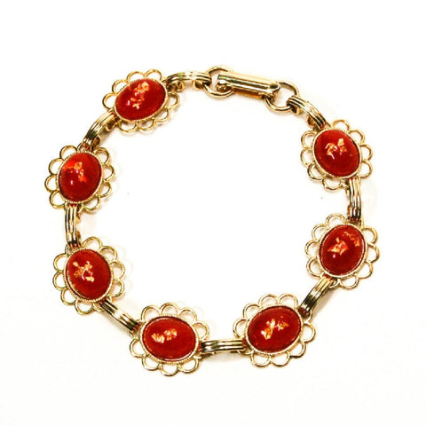 1950s Unsigned Beauty Lucite Cabochons, Red with Gold Flecks Gold Tone Setting Fold Over Clasp Perfect Vintage Condition