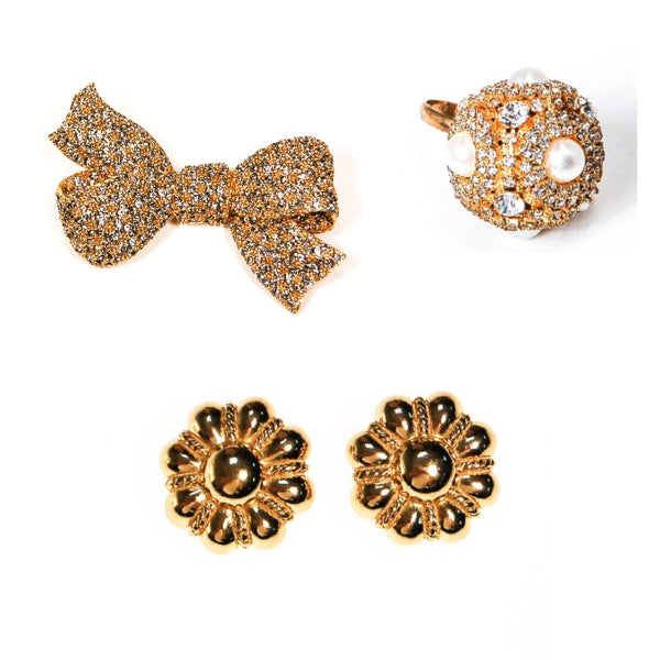 ciner bow brooch, christian dior gold earrings, giant pearl cocktail ring