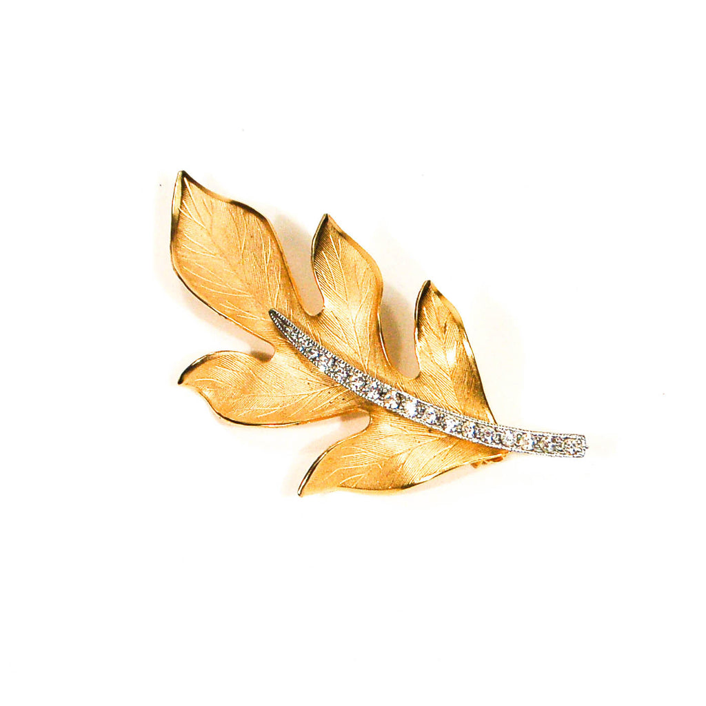 Gold Leaf Brooch with Rhinestones - Vintage Meet Modern  - 1