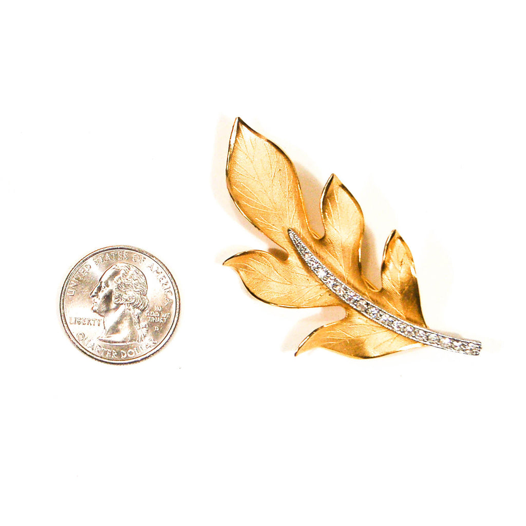 Gold Leaf Brooch with Rhinestones - Vintage Meet Modern  - 2