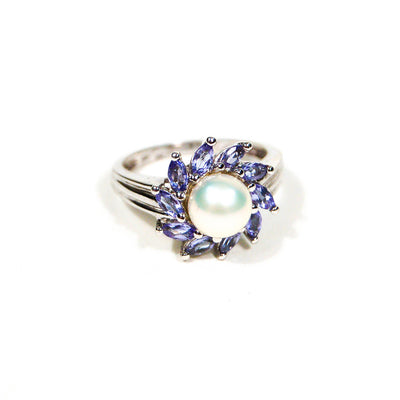 Pearl and Tanzanite Sunburst Ring set in Sterling Silver by Gemstone Ring - Vintage Meet Modern - Chicago, Illinois