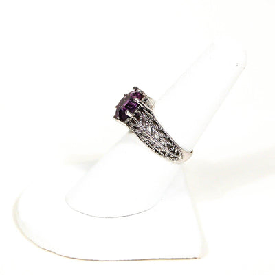 Amethyst Filigree Ring Sterling Silver by Gemstone Ring - Vintage Meet Modern Vintage Jewelry - Chicago, Illinois - #oldhollywoodglamour #vintagemeetmodern #designervintage #jewelrybox #antiquejewelry #vintagejewelry