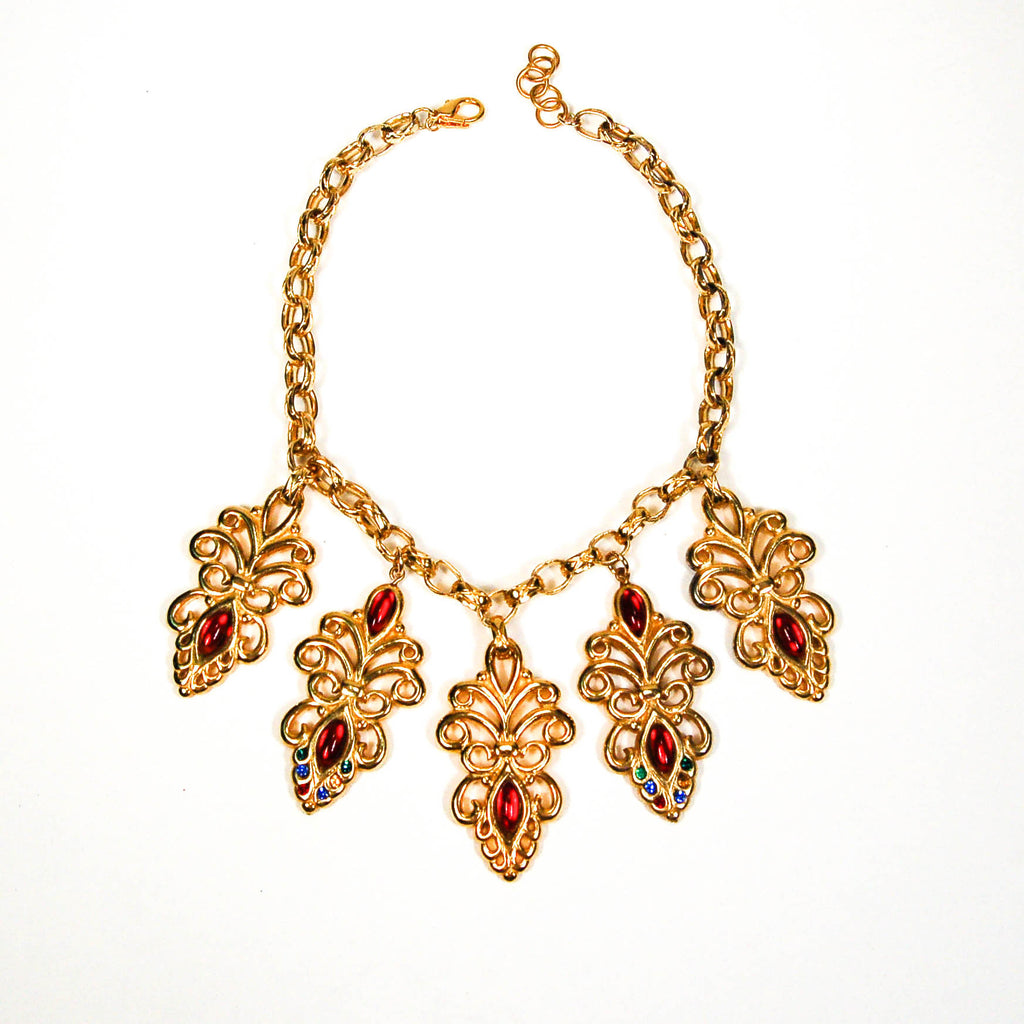 Escada Gold and Jewel Toned Charm Statement Necklace - Vintage Meet Modern  - 1