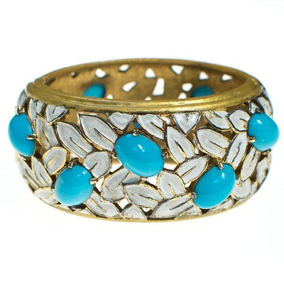 Vintage Jomaz White Flower and Turquoise Cabochon Wide Hinged Bangle Bracelet by 1960s - Vintage Meet Modern Vintage Jewelry - Chicago, Illinois - #oldhollywoodglamour #vintagemeetmodern #designervintage #jewelrybox #antiquejewelry #vintagejewelry