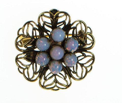 Vintage Accessocraft NYC Gold Crown Brooch with Pearls