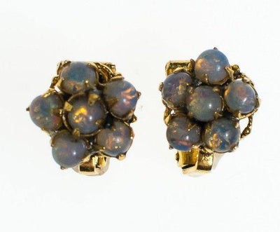 Vintage Petite Opaline Cluster Earrings, Clip On by 1950s - Vintage Meet Modern Vintage Jewelry - Chicago, Illinois - #oldhollywoodglamour #vintagemeetmodern #designervintage #jewelrybox #antiquejewelry #vintagejewelry