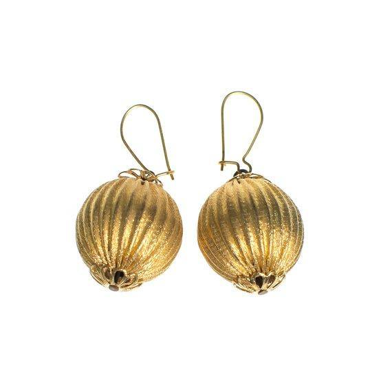 Vintage Rochelle Gold Round Fluted Bead Statement Earrings Piereced New Old Stock 1970s