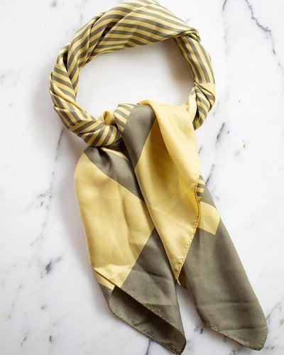 Yellow and Taupe 100% Silk Scarf