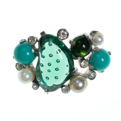 Vintage Castlecliff Brooch Emerald Turquoise Lucite, Jade Green, Faux Pearls by 1960s - Vintage Meet Modern - Chicago, Illinois