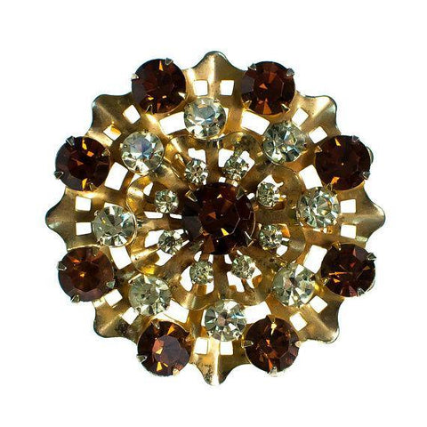 Vintage Castlecliff Coloful Seashell Brooch with Jeweled Rhinestone Cabochons