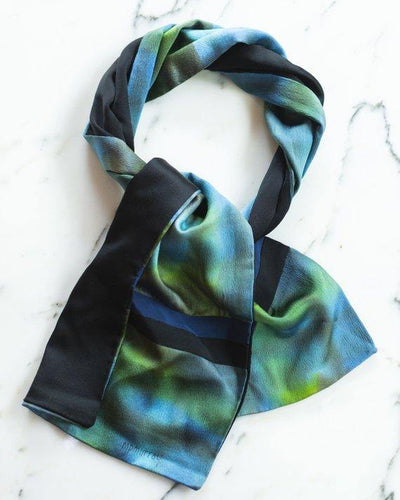 M P Murray Black, Blue and Green Gradiant Silk Signed Scarf by M P Murray - Vintage Meet Modern Vintage Jewelry - Chicago, Illinois - #oldhollywoodglamour #vintagemeetmodern #designervintage #jewelrybox #antiquejewelry #vintagejewelry