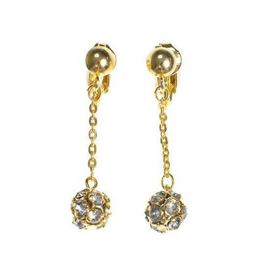 Vintage Diamond Look Rhinestone Drop Statemenent Earrings in Gold Tone
