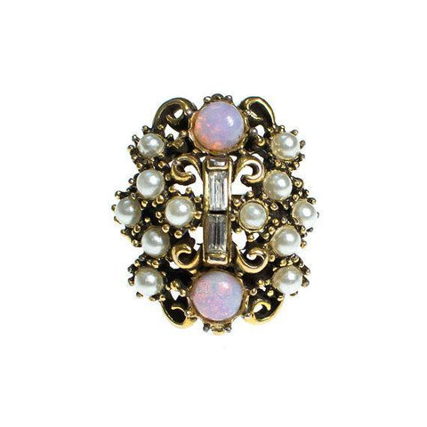Large Mystic Topaz Ring with Filigree Accents