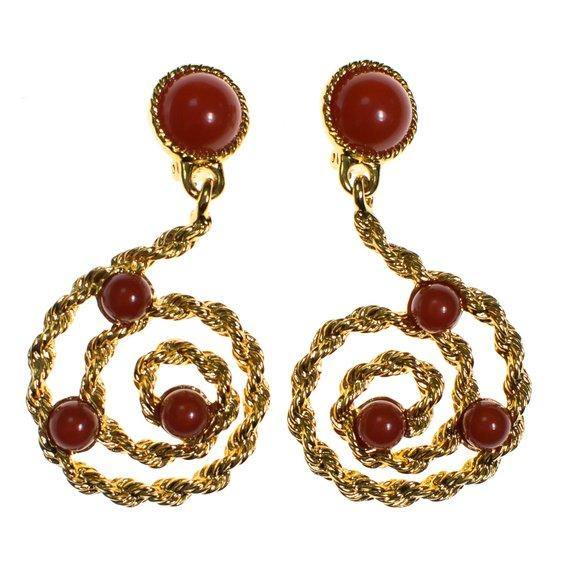 9491d427bc24e Vintage Avon Gold Scroll Statement Earrings with Carnelian Lucite Cabochons
