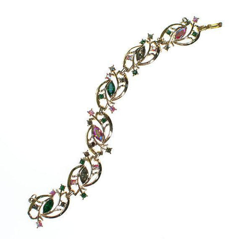 Vintage Guilloche Enamel Clamper Bracelet with Pink Roses and Turquoise
