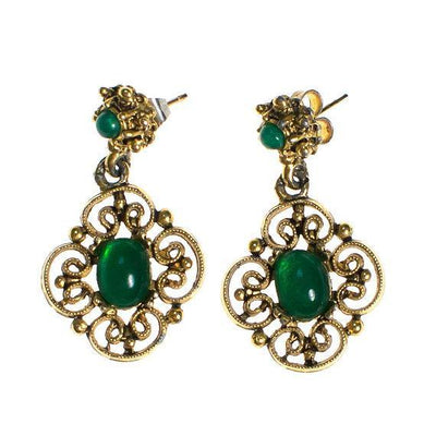 Vintage Jade Glass and Gold Filigree Dangling Pierced Statement Earrings Victorian Revival by 1960s - Vintage Meet Modern Vintage Jewelry - Chicago, Illinois - #oldhollywoodglamour #vintagemeetmodern #designervintage #jewelrybox #antiquejewelry #vintagejewelry