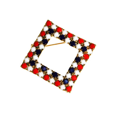 Red White and Blue Rhinestone Brooch by Unsigned Beauty - Vintage Meet Modern Vintage Jewelry - Chicago, Illinois - #oldhollywoodglamour #vintagemeetmodern #designervintage #jewelrybox #antiquejewelry #vintagejewelry