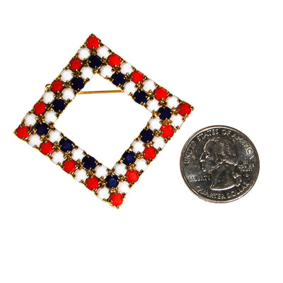 Red White and Blue Rhinestone Brooch by Unsigned Beauty - Vintage Meet Modern - Chicago, Illinois