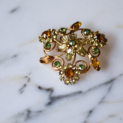 Green and Golden Yellow Rhinestone Brooch by Unsigned Beauty - Vintage Meet Modern - Chicago, Illinois